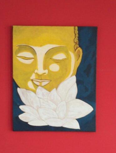 peinture acrylique sur chassis toilés (série bouddha)