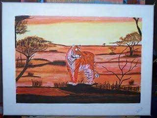 peinture acrylique sur chassis toilés (série Tigres)