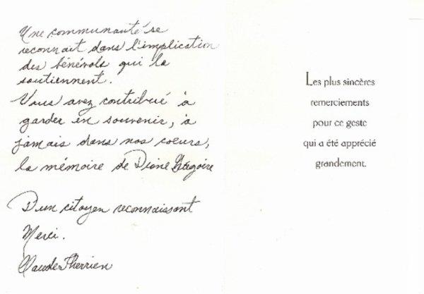 Sincère remerciement à M. Claude Therrien