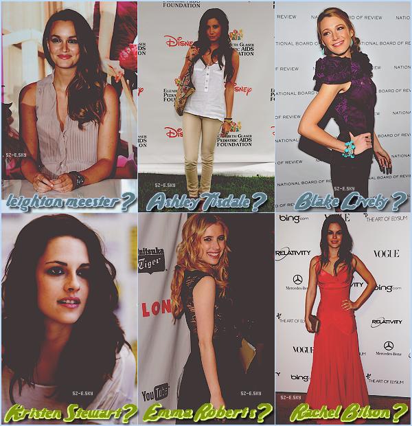 *__________D'après toi, avec laquelles de ses 6 actrices, Zac irait le mieux ? Oui, je sais que certaines sont en couple.*