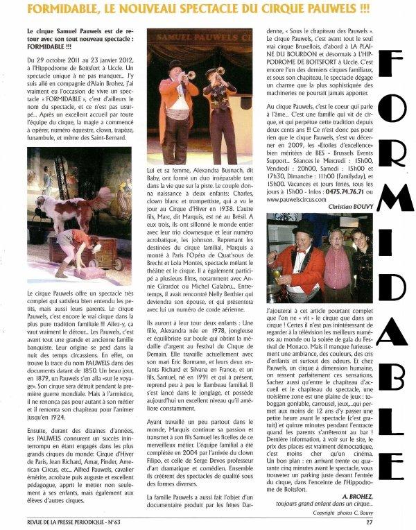 Le Cirque Pauwels - La Presse Périodique (AJPBE) en parle...