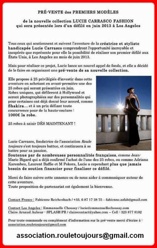 """G-LENA et LUCIE CARRASCO, ensemble pour l'association : """"ROULE TOUJOURS""""..."""