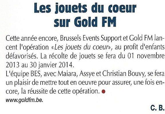 """Opération de solidarité : """"Les jouets du coeur"""" - BES / GOLD FM 2013"""