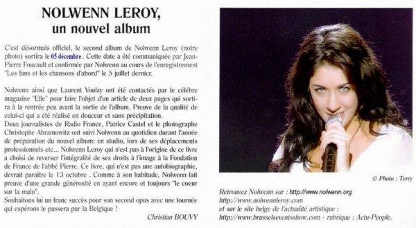Nolwenn Leroy, la plus belle voix depuis Edith PIAF...
