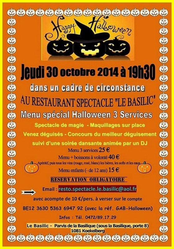 """Le 30 octobre : """"HAPPY HALLOWEEN"""" au BASILIC... Brrrrrrrrrr"""