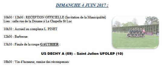 les 3et 4 juin 2017 : finales de la coupe nationale :