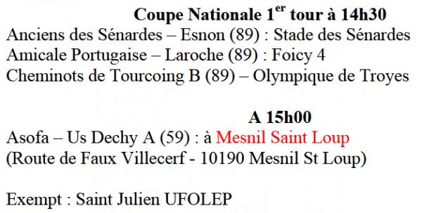 dimanche 08 octobre 2017 : 3ème journée + 1er tour coupe nationale :