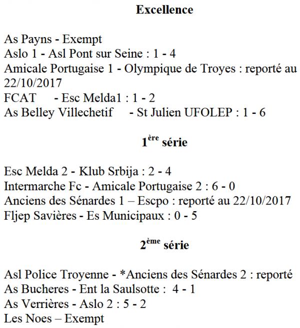 résultats du dimanche 08 octobre 2017 : 3ème j + coupe nationale :