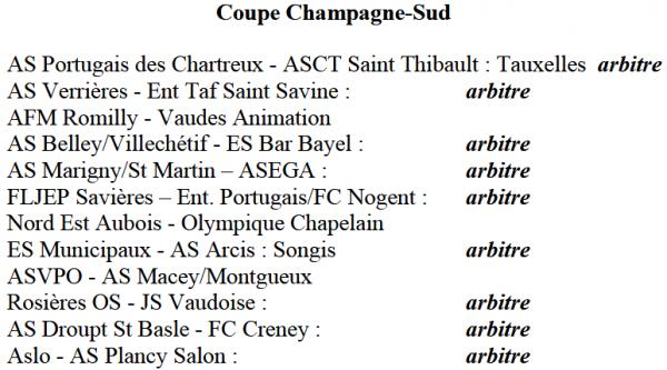 dimanche 22 octobre 2017 : rattrapage + coupe Champagne Sud :