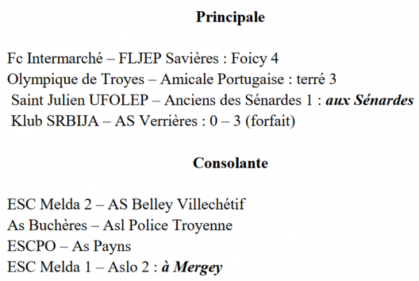 dimanche 18 mars 2018 : 1/4 de finale de la coupe de l'Aube + rattrapage :