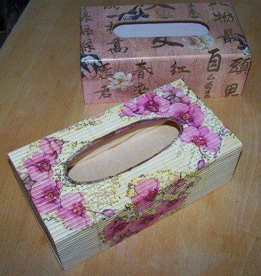 Serviettage boites mouchoirs asie familys creation - Comment decorer une boite a mouchoir en bois ...