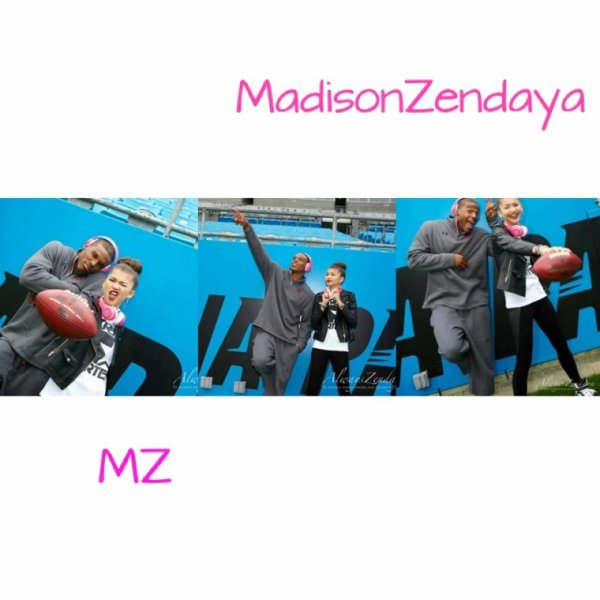 Photo 1 => Zendaya allant à une interview.         Photo 2=>Zendaya et Trevor Jackson se promenant à LA ( mignon n'est ce pas ?! ^^).         Photo 3 => Zendaya et Trevor Jackson faisant du pédalo avec la nièce de Zendaya.        Photo 4 => Zendaya et Cam Newton posant avec des casques Beats by Dre contre le cancer du sein
