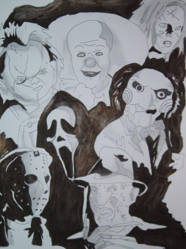 Dessin personnages film horreur je pr sente mes dessins mes peintures - Personnage film horreur ...