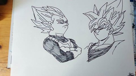 Dessin Dragon Ball Z Vegeta Goku Je Presente Mes Dessins Mes