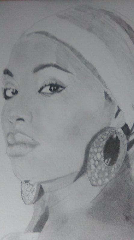 Portrait noir et blanc femme dessin - Dessin africaine ...