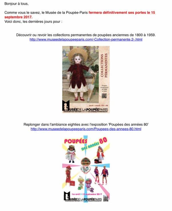 Derniers jours avant fermeture définitive et braderie-liquidation du musée de La poupée de Paris