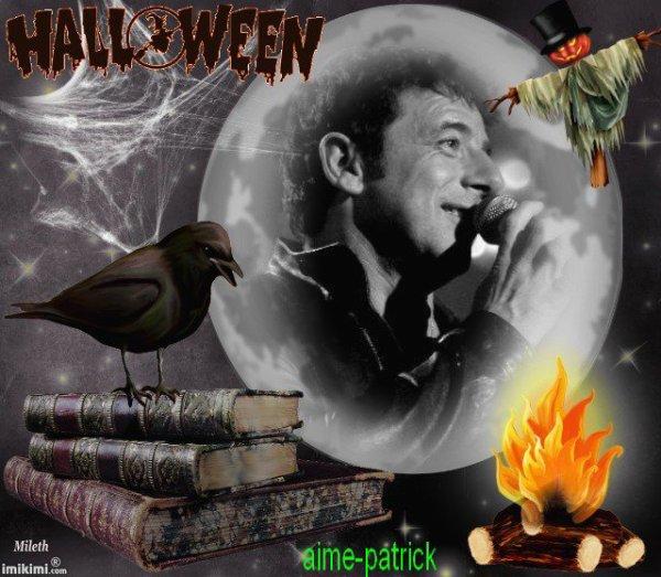 montage de patrick bruel avec décor halloween de aime-patrick