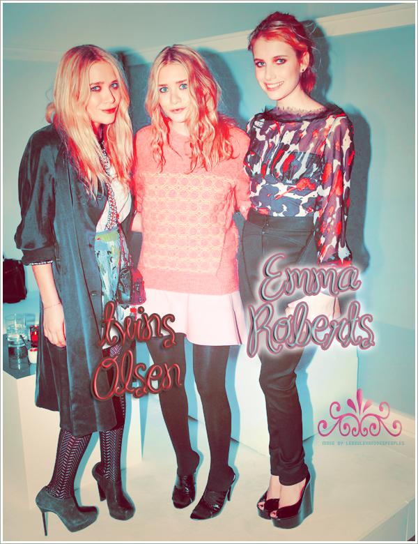 Les soeurs Olsen et Emma Roberts étaient présente à la soirée de lancement de Google le nouveau site de shopping Boutiques.com à NYC's Skyline Studio mercredi 17 Nov' au soir