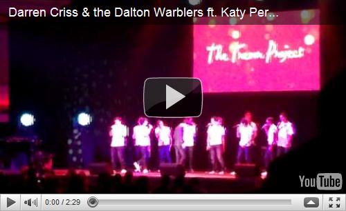 """Darren Criss & Katy Perry en Duo pour """"Teenage Dream"""" !Darren et Katy font équipe pour un duo de la chanson à succès, """"Teenage Dream"""" à Trevor Live, le dimanche 5 Décembre à Los Angeles!"""