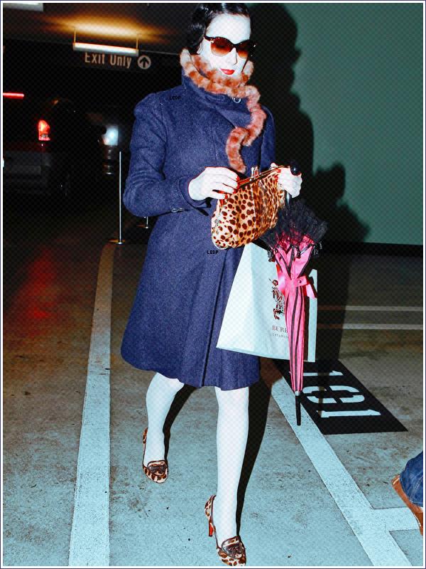 Attention! Mamie Dita Von Teese est de sortit, avec son parapluie Rose à dentelle, ses vieilles pantoufle en léopard genre Napoléon et Louis 16, sans oublier évidement le manteau avec les bords en fourure !
