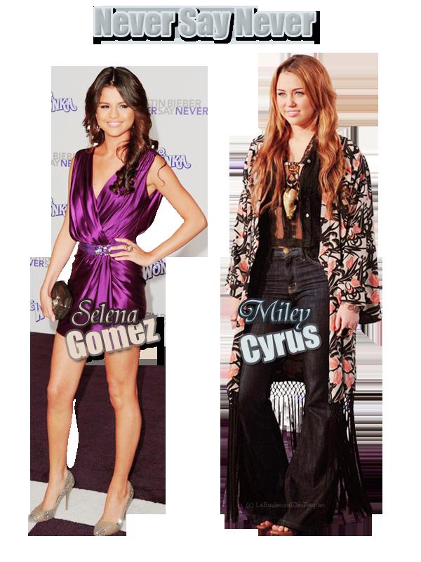 Selena Gomez  & Miley Cyrus à l'avant Première de 'Never Say Never'