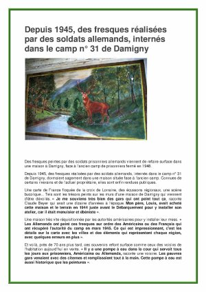 FRESQUES AU CAMP DE DAMIGNY (ouest-france 2013)