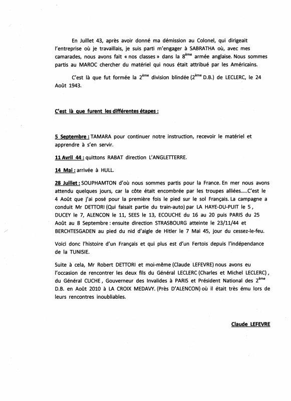 ROBERT DETTORI (ancien des Forces Françaises libres) Claude Lefèvre
