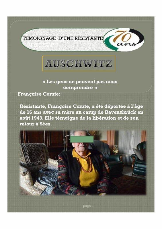 """Françoise Comte """"nous raconte""""  AUSCHWITZ"""