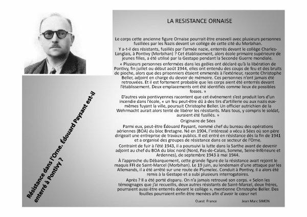 La résistance Ornaise  (Edouard Paysant)
