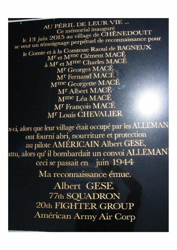 Chênedouit  (61) Hommage à Albert L Gese
