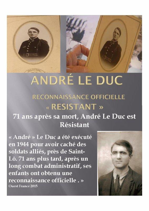 André Le Duc enfin reconnu Résistant