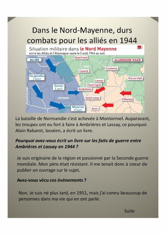 Dans le Nord-Mayenne, durs combats pour les alliés en 1944