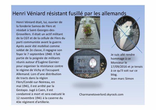 Henri Véniard Résistant fusillé