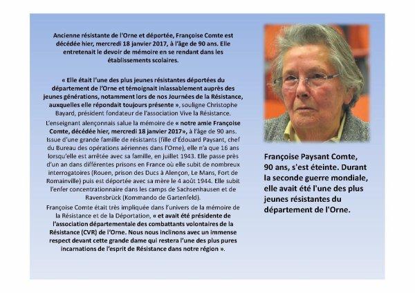 R.I.P.  Mme Comte Françoise