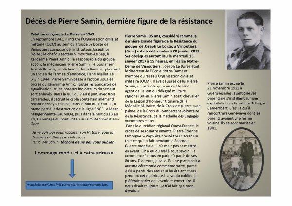 PIERRE SAMIN  figure de la résistance Normande