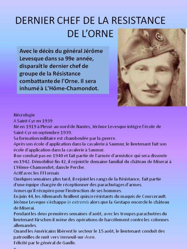 Jérôme Levesque.Dernier Chef Résistant de L'Orne nous a quitté