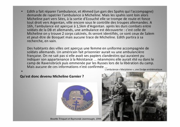 MICHELINE GRIMPEL DIT GARNIER DANS LA 2e  DB  (résistante ornaise) Les Rochambelles
