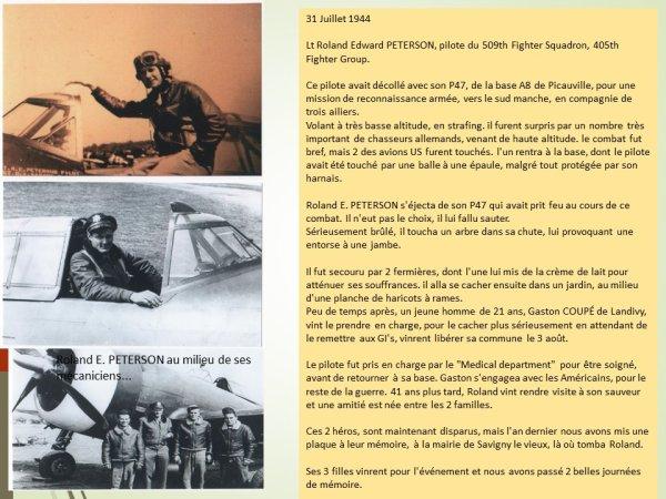 Lieutenant Roland E, Peterson  pilote du 509th Fighter Squadron, 405th Fighter Group.