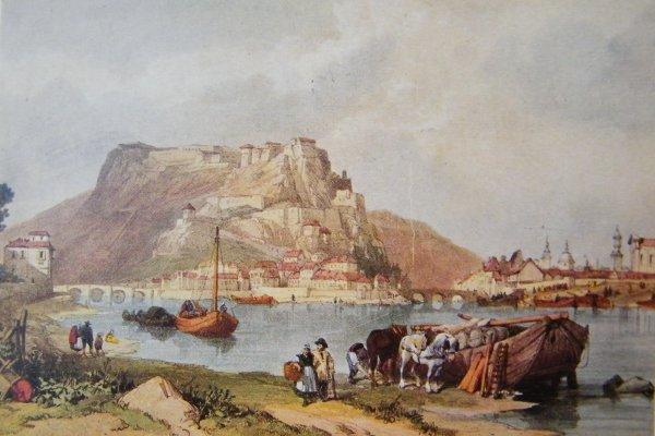 Namur - Confluent et citadelle - Reproduction d'une peinture.