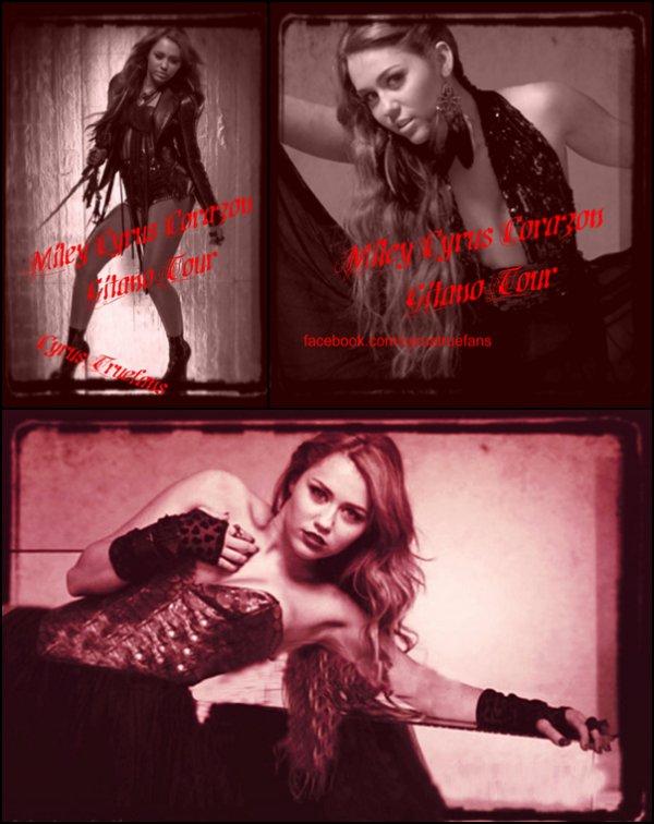""".La Tournée 2011 de M.CYRUS..Retrouvez ci-dessous 3 nouvelles photos pour sa prochaine tournée (en mauvaise qualité). Cette tournée s'appelera donc """"Corazon Ginato Tour"""" pour les concerts en Amérique du Sud et pour les autres pays, ce sera """"Gypsy Heart Tour""""Et concernant le concert de Miley au Pérou, prévu pour le 1er Mai, les 25.000 places mises en vente depuis le 23 Mars se seraient déjà toutes vendues ! On sait déjà que Miley commencera sa tournée le 29 Avril en Equateur puis continuera dans 11 autres pays d'Amérique Latine pour se terminer au Mexique le 29 mai. Ses concerts se passeront la plupart dans des stades avec au moins 40.000 places !  Par contre, on ne sait toujours pas si la belle passera en Europe. Espérons qu'elle vienne en France ! Que penses tu de ces posters promo' ?."""