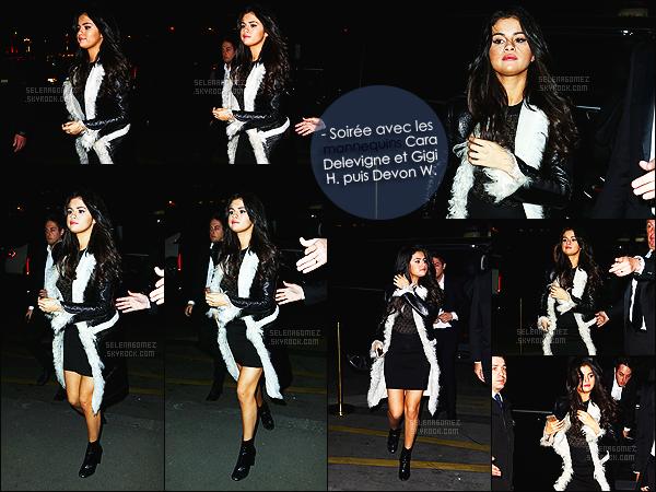 - 11/03/15 : Selena Gomez arrivait au dinner party de « CR Fashion Book » toujours dans la ville de Paris - FR.   Plusieurs photos de la soirée ont été posté sur Instagram, où on retrouve SG en compagnie de Cara Delevigne ou encore du mannequin Gigi Hadid. -