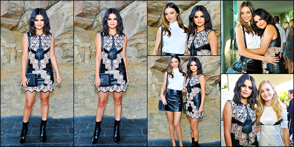 06/05/15 - Sel Gomez a été aperçue au défilé « Louis Vuitton Cruise 2016 », étant organisé à Palm Springs. Lors de cet événement, elle était en compagnie du mannequin Miranda Kerr & de l'actrice Britt Robertson, avec lesquelles elle a pris la pose ! [/alig fen]