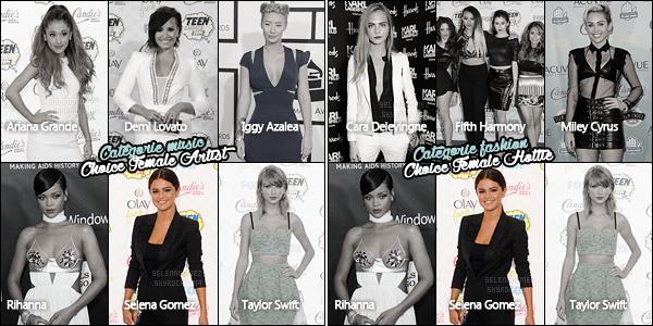 ='TCA 2015 ●= S. Gomez est nominée dans deux différentes catégories cette année, pour les Teen Choice Awards 2015 !Dans la catégorie « Choice Female Artist » Selena Gomez sera opposée aux artistes suivantes - Ariana Grande, Demi Lovato, Iggy Azalea, Rihanna et pour finir Taylor Swift. Pour sa seconde nomination « Choice Female Hottie » elle fera face à Cara Delevingne, Fifth Harmony, Miley Cyrus puis à nouveau Rihanna et Taylor Swift ! Les votes débuteront très prochainement, dès le mercredi 10 juin 2015, le lien sera évidemment disponible sur le blog. La célèbre cérémonie quant à elle se déroulera en direct le dimanche 16 août 2015. Hâte ? [/alig fen]
