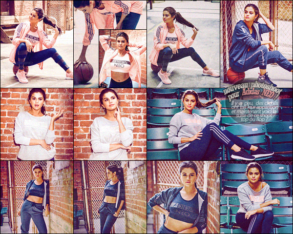 ''PHOTOSHOOT ●'' De nouveaux clichés provenant du shoot réalisé pour Adidas NEO sont maintenant disponibles ! La nouvelle collection de Selly contient principalement des vêtements aux tons roses et gris, envie d'y jeter un coup d'oeil ? Clique sur ce lien. [/alig fen]