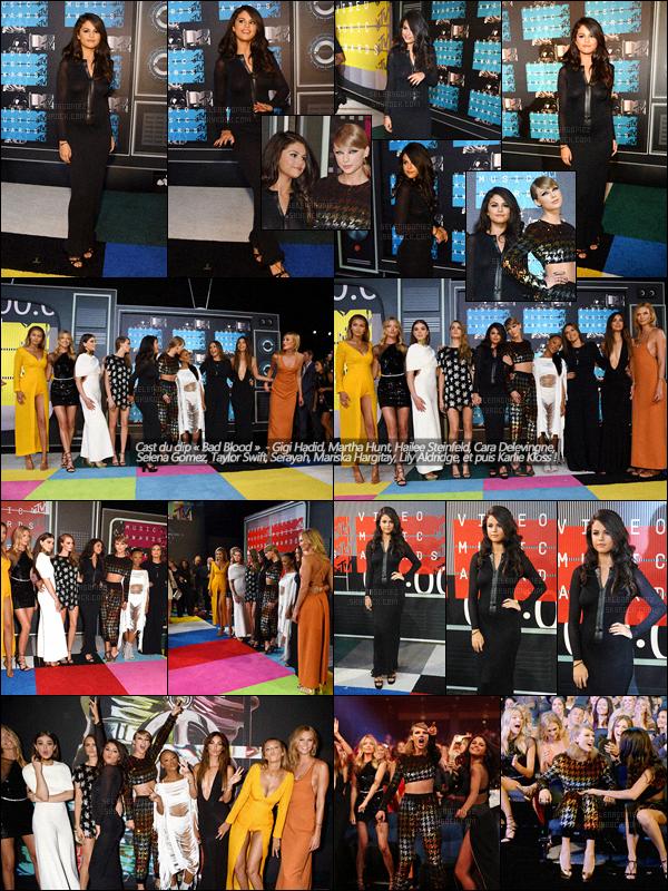 30/08/15 -  Gomez à la cérémonie des « Video Music Awards » avec le cast du clip « Bad Blood » (LA) !  Lors de cette soirée S. a comme d'habitude soutenu sa meilleure amie Taylor Swift ! Côté tenue, je suis un peu déçue mais elle reste sublime. [/alig fen]