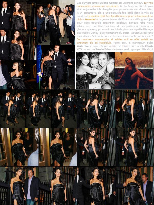 24/09/15 - Miss Selena a été repérée en allant puis en quittant « Annabel's », dans la ville de Londres ! Ce jour-là, c'était le lancement de ce club & resto', Selena étant l'invitée d'honneur ! Que pensez-vous de la tenue que Gomez porte, un top ? [/alig fen]
