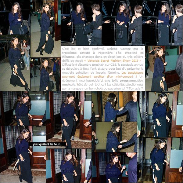 12/10/15 - S. Gomez a été aperçue en arrivant à « The Greenwich Hotel » un hôtel cinq étoiles de N-Y ! Toujours dans le but de promouvoir la sortie de son album Revival, elle enchaîne les sorties ! Niveau tenue, c'est beau mais sans plus. Un top ? [/alig fen]