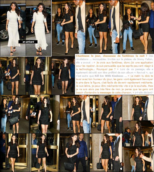 14/10/15 - Selena G. a été repérée alors qu'elle quittait les studios de « NBC », toujours dans New-York. Interviews à la radio, passages dans des émissions, live... A quand un peu de repos pour Gomez ? En tout cas, ce n'est pas pour tout de suite ! [/alig fen]
