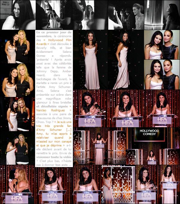 01/11/15 - Selena G. s'est rendue au « Hollywood Film Awards  » qui se déroule à Beverly Hills (CA) ! Première sortie de ce mois pour Sel ! Je trouve sa tenue mignonne, mais elle aurait pu opter pour quelque chose d'un peu moins ordinaire, top ? [/alig fen]