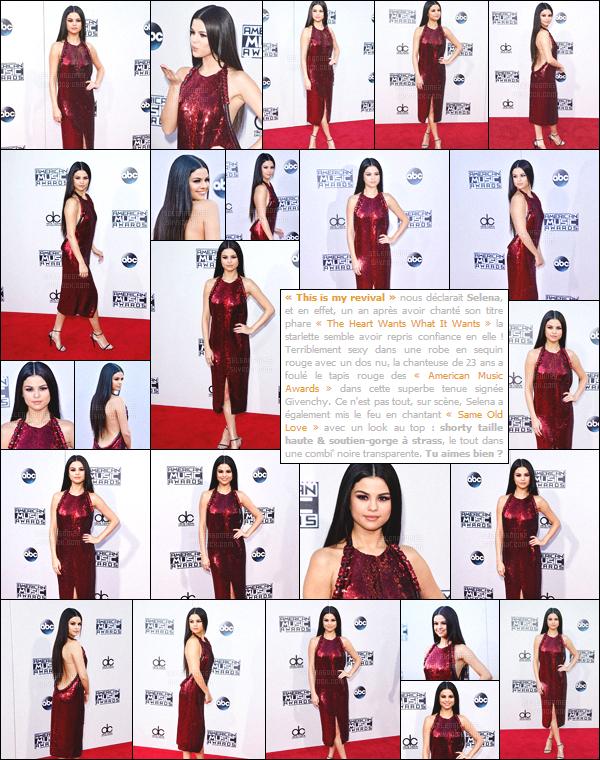 22/11/15 - Miss Selena a été vue aux « American Music Awards  » une cérémonie qui se déroule à LA. Après avoir marqué les esprits avec sa performance, notre starlette s'est rendue à l'after-party organisée par son ex Justin Bieber. Ton avis ?[/alig fen]
